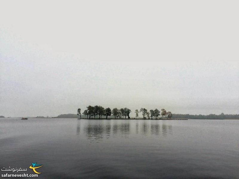 Eastern lake on a cloudy and foggy day